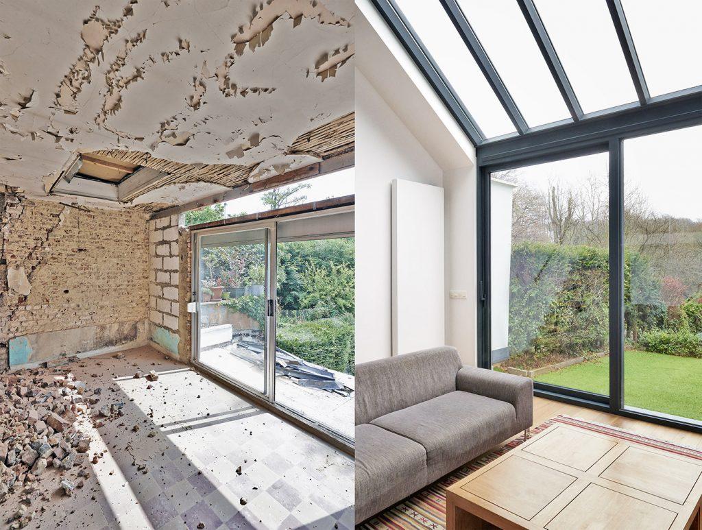 Vorher-Nacher-Vergleich eines Raums nach Renovation