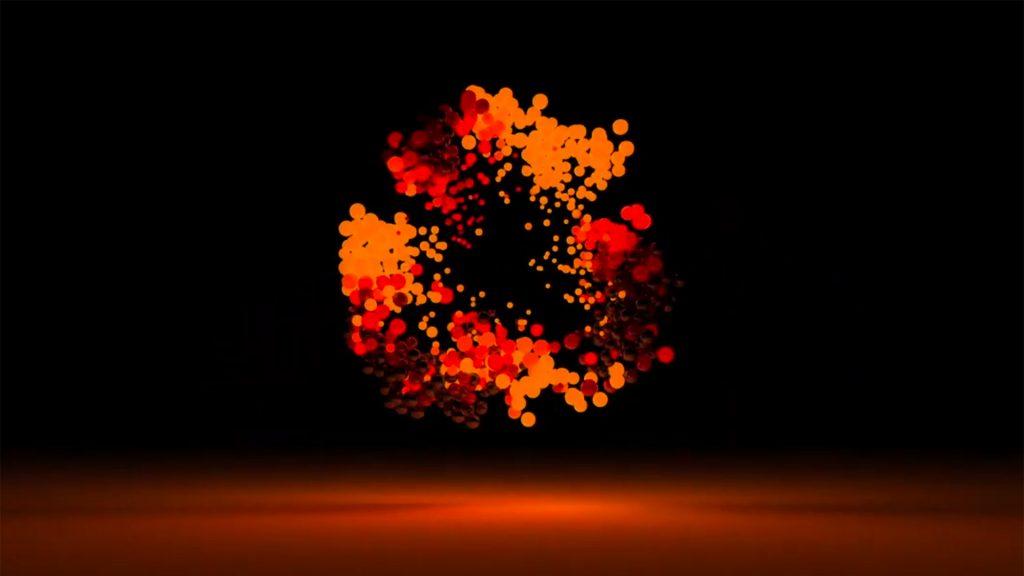 schwebende, rot leuchtende Bälle vor dunklem Hintergrund