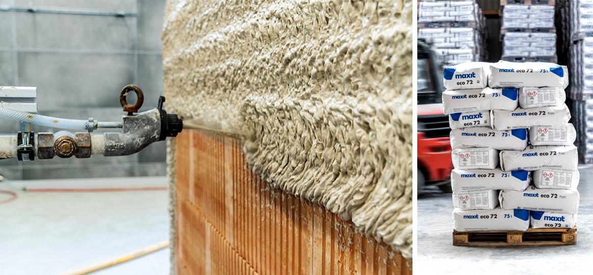 Links: Wie ein Schaum wird die graue Masse auf eine Backsteinwand gespritzt. Rechts: Palette mit Säcken von Maxit
