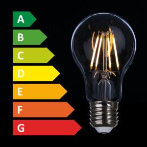 Regenbogenskala A bis G neben LED-Birne
