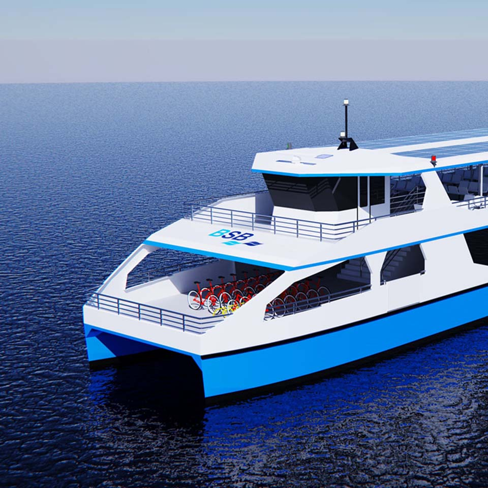 Passagierschiff mit Velos auf dem Vorderdeck
